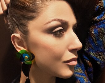 Long Acrylic Asymmetric Earrings, Blue Green Plastic Flower, Up-cycled Jewellery by ENNA