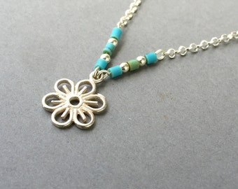 Sterling silver Turquoise flower necklace, Turquoise necklace,Tiny Turquoise beaded necklace,silver flower necklace, Tiny Flower Necklace,