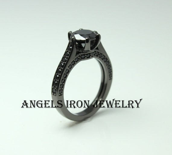 Black Diamond Ring Solitaire Round Cut Wedding by angelsiron