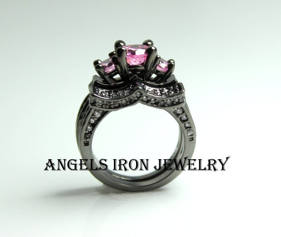 Black Gold Ring Set Pink Sapphire Wedding Engagement by angelsiron
