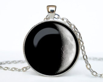 Full moon necklace Full moon pendant Galaxy jewelry Universe pendant Full moon jewelry Space pendant Galaxy necklace