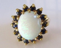 Large 9ct Gold Opal and Sapphire Ring