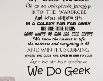 In This House We Do Geek Wall Decal