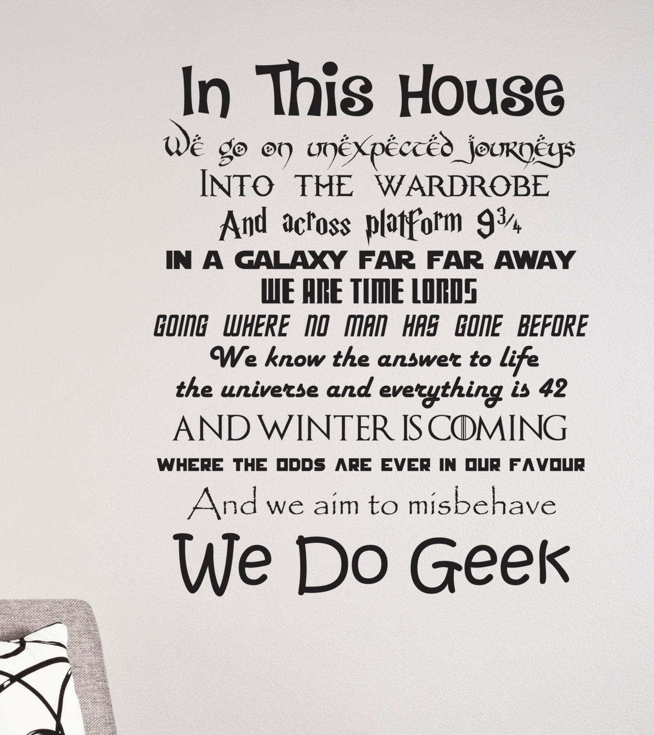 Disney One Liner Quotes: In This House We Do Geek Wall Decal