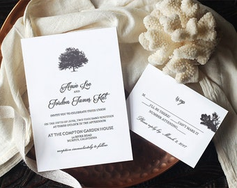 Tree Wedding Invitation Template - Printable Wedding Invite - ASHLIN - INSTANT DOWNLOAD - Edit Colors!