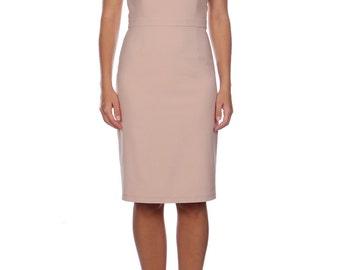 Neutral Beige Body Con Pencil Dress Black Cap Sleeves Pencil Skirt Special Occasion Formal Wear Elegant Dresses Robe Beige
