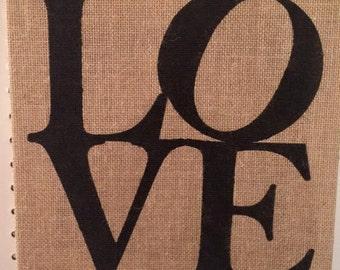 Love burlap canvas