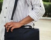 Black Laptop Bag - Leather Messenger Bag - 13'' Leather Laptop Bag - Leather Briefcase