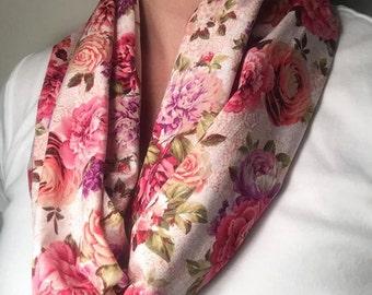 Pink Floral Infinity Scarf, Loop Scarf, Floral Print Scarf, Flower Scarf