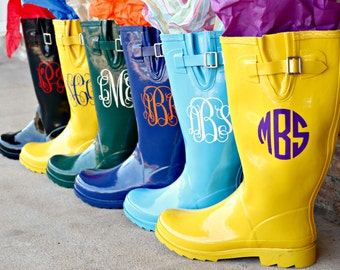 Personalized Monogrammed Rainboot Sorority Bridesmaid Graduation Gifts