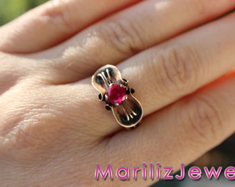 Vintage Antique Ruby Engagement Ring 0.55 ct- yellow gold 14K - 1.9 grams - size 7