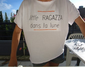 "T-shirt hand-painted ""little RAGAZZA"""