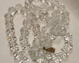 Vintage 14k Gold GF Large Rock CRYSTALS Faceted Beaded Necklace, 14k/20 Graduated Necklace 1349-1