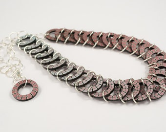 Chainmail Collar Necklace - Statement Geometric Bib Necklace