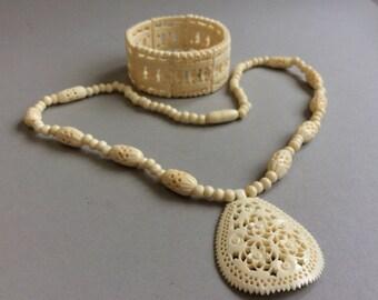 Carved Filigree Celluloid Bracelet/Necklace Jewelry Set