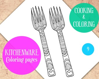 Adult Coloring Pages Kitchen Book Forks Sheets