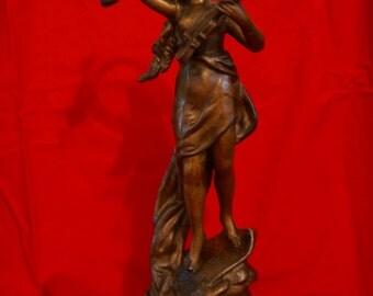 """Beautiful spelter sculpture by Henryk II Kossowski tittled """"La Musique"""""""