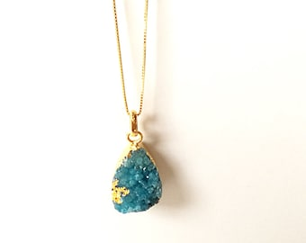 Turquoise blue druzy necklace/ One of a kind druzy pendant/ Electroplated druzy/ Gold plated necklace/ Gift idea