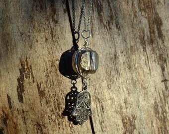 Pyrite and Hamsa Necklace