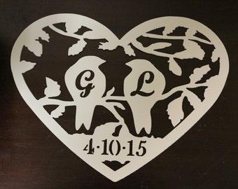 Wedding metal wall art-Lovebirds-Personalized