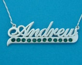 Birthstone Name Necklace Line Charm Nameplate Necklace Silver Xmas Gift Birthstone Name Chain Silver Name Chain Pendant With Birthstones