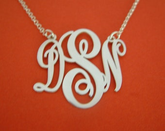 Monogrammed Necklace Silver -  Birthday Gift Customized Necklace Gifts Monogramm Necklace Vertical Monogram Necklaces