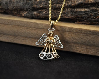 Sterling silver Angel necklace 925 silver and gold plated pendant silver necklace Christian necklace JB1013
