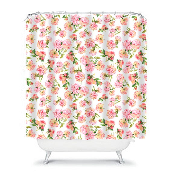 shabby chic shower curtain, rose shower curtain, floral shower curtain ...