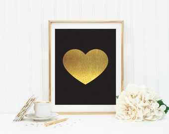 Black and Gold Heart Instant Download Kate Spade Inspired Office Decor Dorm Wall Art Apartment Decor