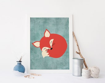 Cute Fox Nursery Wall Art Fox Printable Instant Download Fox Wall Art Fox Nursery Printable Fox Theme Nursery Wall Art
