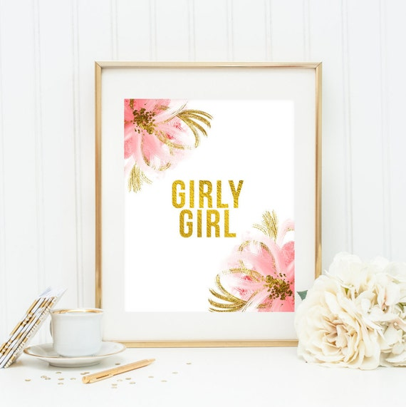 Girly Pink Nursery Decor: Girly Girl Quote Gold Pink & Gold Wall Art By