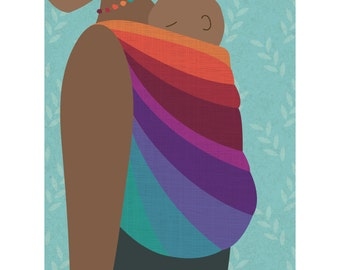 Babywearing Back Carry Baby Sling Art Print