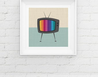 Retro TV Minimal Art Print, Television Test Card Giclee Art Print