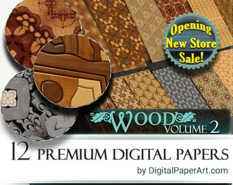 Wooden Digital Paper pack Vol.2-Wooden Printable scrapbook paper. Wooden Digital Papers. Wood Instant Download.Commercial Use Wood patterns