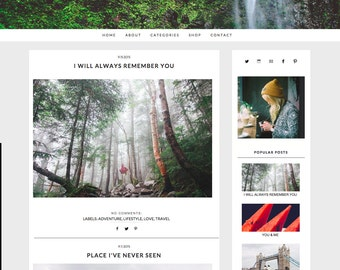 Forgotten || Responsive Blogger Template, Top Banner Image, Premade Blogger Template, Instant Download