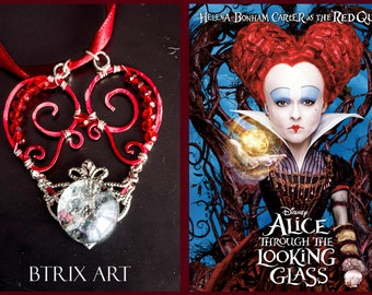 "Red Queen pendant (""Alice through the looking glass"") - Wire Jewellery"