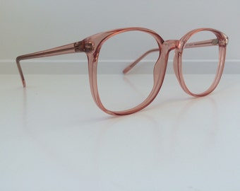Vintage Pink Eyeglass Frames - Oversized Eyeglasses - Peach Coral Salmon Clear Glasses - Stranger Things Barb - No Lenses Deadstock NOS 78