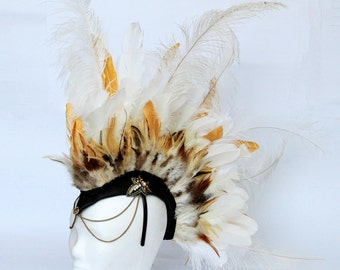 White and gold feather mohawk Headdress