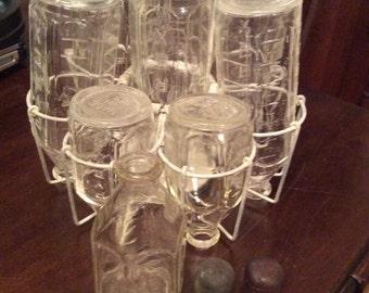 9 Vintage Antique Pyrex Baby Bottles plus sterilizer carrier
