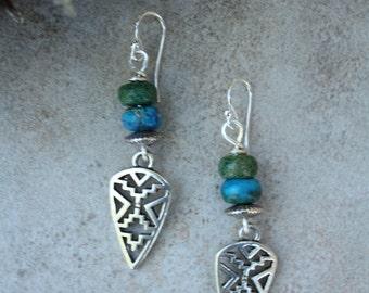 153 Imperial jasper and silver southwest charm earrings, sterling ear wires, boho, artisan