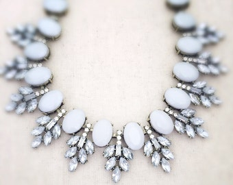 Statement necklace, crystal statement necklace, gray statement necklace, gray necklace, crystal necklace