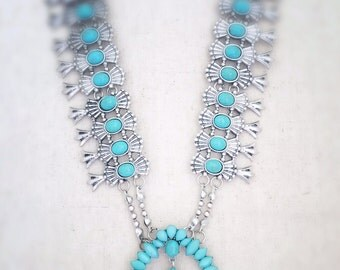 Statement necklace, silver statement necklace, turquoise statement necklace, bohemian necklace, boho necklace, turquoise jewelry,