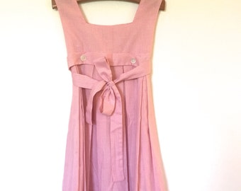 CLEARANCE: Vintage Kid's Clothes, Custom Made 1960's-70's Retro Light Pink Checkered Jumper / Dress by Anceck, Size 4