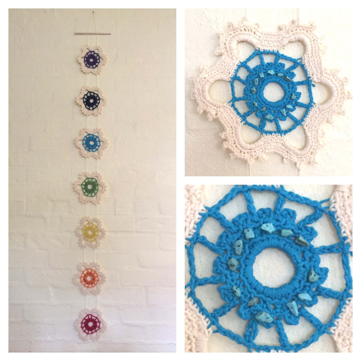 Crochet Wall Hanging : chakra wall hanging crochet crystals chakra by HeartAndHands2