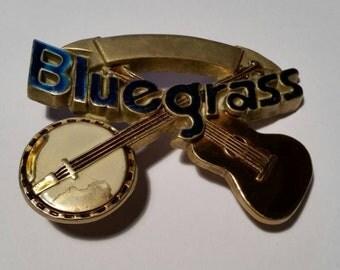 """Vintage Baron Belt Buckle """"Bluegrass"""", Vintage Baron Solid Brass And Enamel Belt Buckle 1980, No 6231, Vintage Brass Belt Buckle By Baron."""