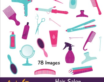 Hair Salon Clipart- Haircut Stylist Clip Art, Hair Dresser Tools, Appointment Planner Stickers, Beauty Salon Spa Printable Instant Download