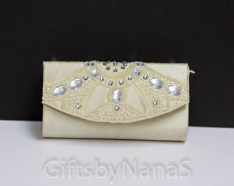 Champagne clutch purse wedding special occasion clutch with crystal pearl beading embroidery decoration for prom weddings