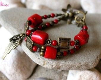 Red Coral Bracelet, Bohemian Bronze Bracelet, Boho Coral Bracelet, Ethnic Bracelet, Antique Bronze Bracelet, Gypsy Bracelet, Tribal Bracelet