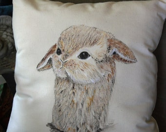Hand Painted Easter Bunny Pillow Cover, Rustic Farmhouse Decor, Decorative Pillow, Rabbit, Cottage Chic