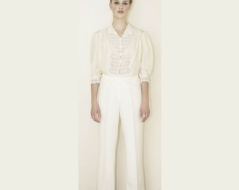 Vintage flare white trousers